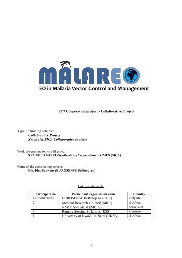 EO in Malaria Vector Control and Management - Malareo