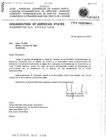 Demanda presentada por la Comisión Interamericana