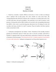 OUTLINE Chapter IX Reactions of Alcohols 1. Reactivity of alcohols ...