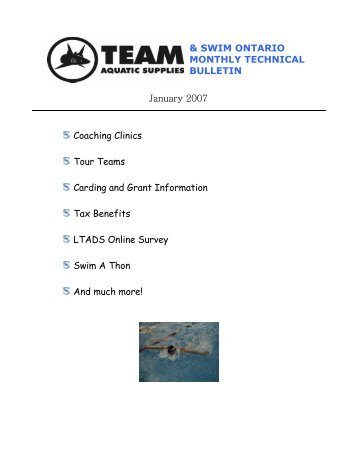 SWIM ONTARIO MONTHLY TECHNICAL BULLETIN January 2007 ...