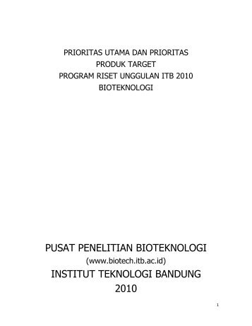 pusat penelitian bioteknologi institut teknologi bandung 2010 - ITB