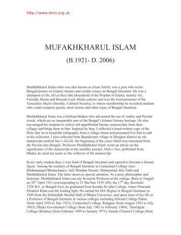 MUFAKHKHARUL ISLAM - Bengal Muslim Research Institute