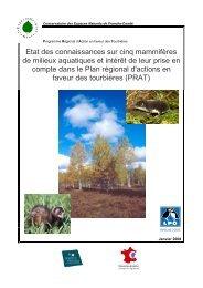 Etat des connaissances sur cinq mammifères de milieux aquatiques ...