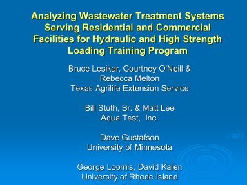 Analyzing Wastewater Treatment Systems Serving Residential and ...
