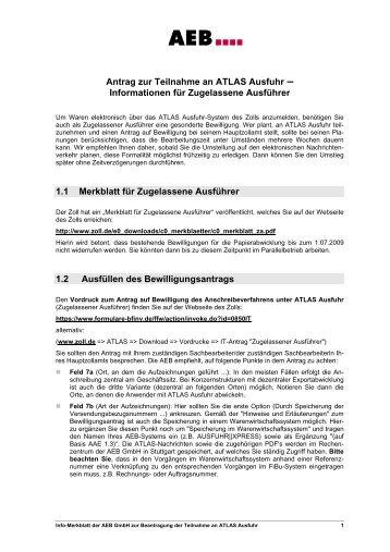 Informationen zur Beantragung des Anschreibeverfahrens für ATLAS