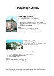 Pacchetti d'Avvento e di Natale 2011 degli alberghi di Klagenfurt