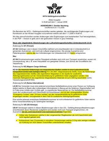 IATA Gefahrgutvorschriften 49ste Ausgabe In Kraft seit dem 1 ...