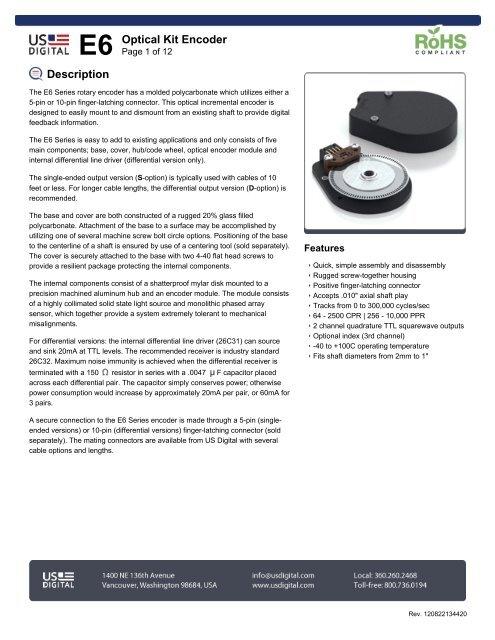 Description E6 Optical Kit Encoder - US Digital