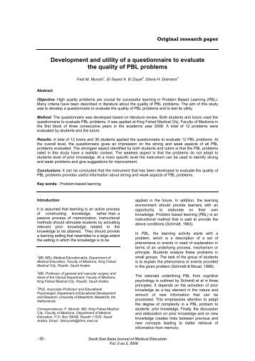 Development and utility of a questionnaire to evaluate the quality of ...