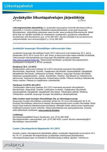 Järjestökirje 1/2012 - Jyväskylän kaupunki