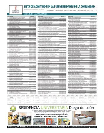Lista de admitidos en las universidades de la Comunidad - Diario ...