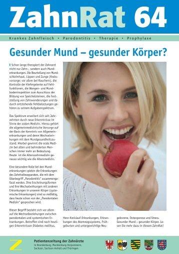 Gesunder Mund – gesunder Körper? - Zahnärzte in Thüringen