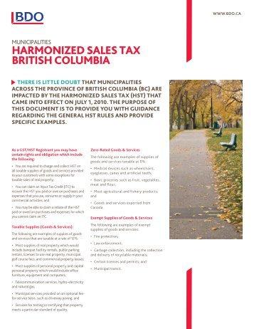 Harmonized sales tax britisH columbia - BDO Canada