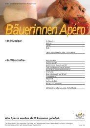Apéros werden ab 20 Personen geliefert. - Region Werdenberg