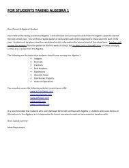 Algebra 1 Summer Math Packet