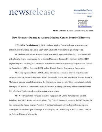 New Members Named to Atlanta Medical Center Board of Directors
