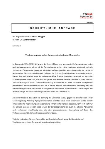 Vereinbarungen zwischen Agrargemeinschaften und ... - Liste Fritz