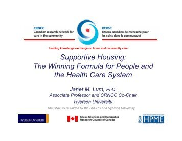 Supportive Housing: The Winning Formula for People and ... - crncc