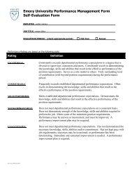 Emory University Performance Management Form Self-Evaluation ...