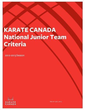 Criteria - Karate Canada