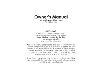 Owner's Manual - Diamondback Bicycles