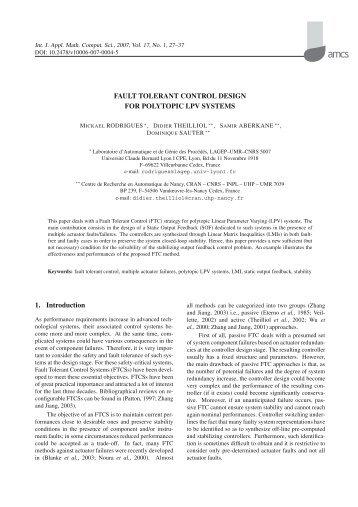 Fault Tolerant Control Design for Polytopic LPV Systems