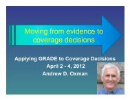 Moving from evidence to coverage