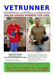 MAJOR AWARD WINNERS FOR 2005 - ACT Veterans Athletics Club