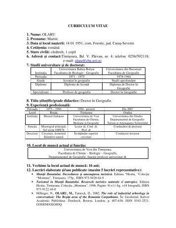 CURRICULUM VITAE 1. Nume - Universitatea din Oradea