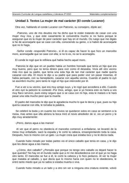 Unidad 3 Textos La Mujer De Mal Carácter El Conde Lucanor