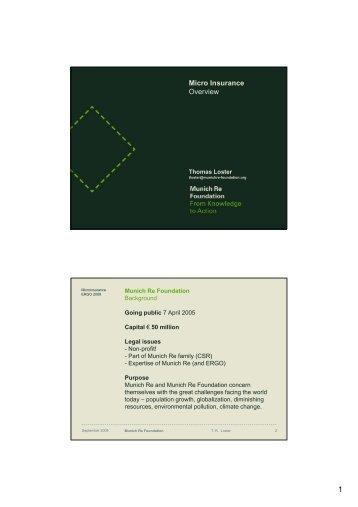Micro Insurance Overview - Munich Climate-Insurance Initiative