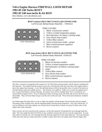 Harness firewall loom repair info - Dave's Volvo Page
