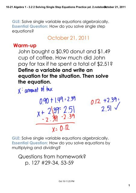 10 21 Algebra 1 3 2 2 Solving Single Step Equations Practice Pd 2