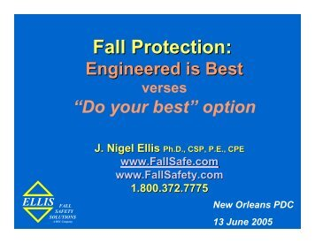 Fall Protection: - Ellis Fall Safety Solutions