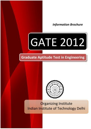Information Brochure - GATE-JAM Office - Indian Institute of ...