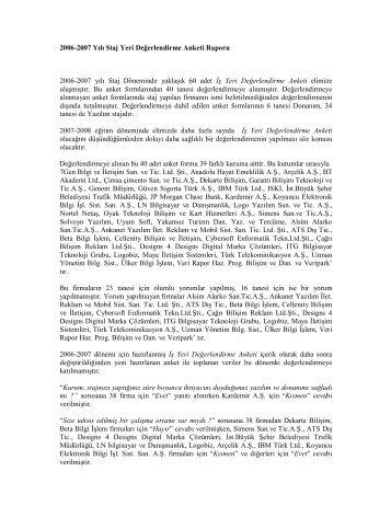 2006-2007 Yılı Staj Yeri Değerlendirme Anketi Raporu 2006-2007 ...