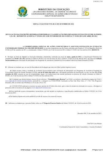 edital coae/ufgd nº49, de 21 de setembro de 2012 divulgação das ...