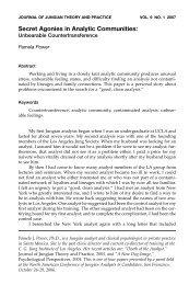 Secret Agonies in Analytic Communities: - CG Jung Institute of New ...