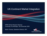 UK-Continent Market Integration - Electricity Policy Research Group ...