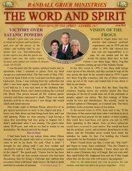 June 2012 Newsletter - Randall Grier Ministries
