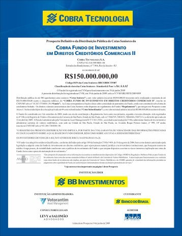 FIDC Cobra II - Prospecto Definitivo - Banco do Brasil