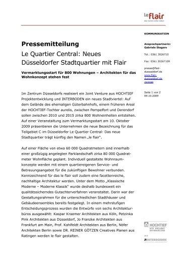 Neues Düsseldorfer Stadtquartier mit Flair - Le Flair