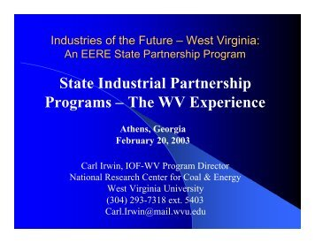 State Industrial Partnership Programs - Industries of the Future ...