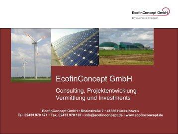 Unternehmenspräsentation EcofinConcept GmbH