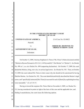 Response to Order to Show Cause - District Court of Guam