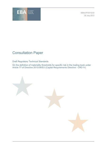 EBA/CP/2013/33 - European Banking Authority