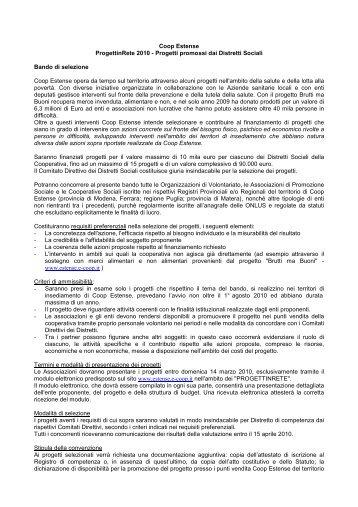 Bando Coop Estense - Centro Servizi Volontariato Salento
