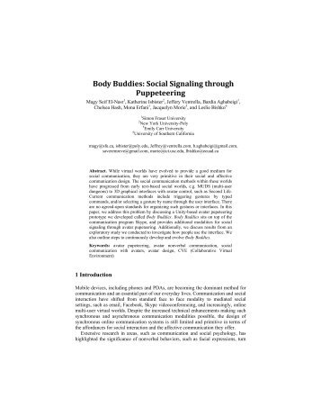 Body Buddies: Social Signaling through Pupeteering.