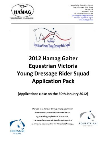 2012 Hamag Gaiter Equestrian Victoria Young Dressage Rider ...