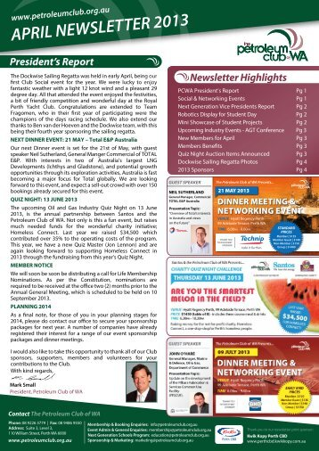 APRIL NEWSLETTER 2013 - Petroleum Club Of WA